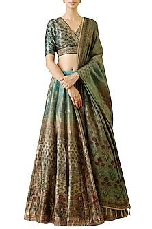 Turquoise printed embroidered lehenga set by Ekaya