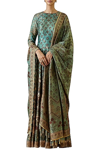 Turquoise hand embroidered & printed anarkali gown by Ekaya