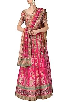 Pink Banarasi Handwoven Embroidered Lehenga Set by Ekaya