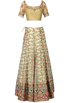 Ivory and Multi-Coloured Banarasi Handwoven Embroidered Lehenga Set by Ekaya