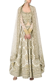 Ivory and Gold Banarasi Handwoven Embroidered Lehenga Set by Ekaya