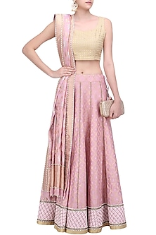 Pink Banarasi Tissue Lehenga Skirt with Dupatta by Ekaya