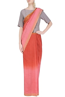 Pink and Rose Pink Ombre Shaded Saree with Grey Crop Top by Ekadi