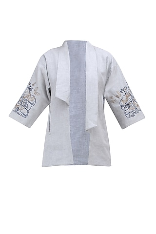Grey and Blue Embroidered Front Open Jacket by Ekadi