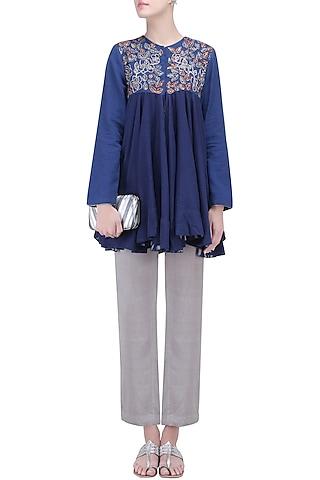 Berry Blue Thread Embroidered Jacket by Ekadi