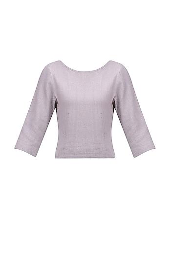 Beige Grey Noil Silk Top by Ekadi