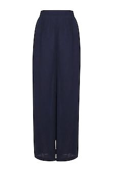 Berry Blue Art Silk Trouser Pants by Ekadi