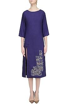 Blue Embroidered Long Tunic by Ekadi