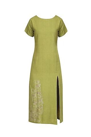 Leaf Green Embroidered Tunic Dress by Ekadi