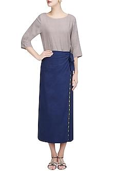 Blue Wrap Around Skirt Set by Ekadi