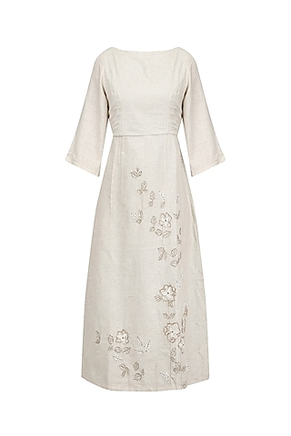 Beige Grey Embroidered Dress by Ekadi
