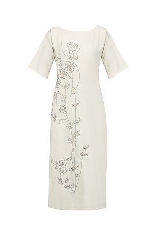 Off White Embroidered Tunic by Ekadi