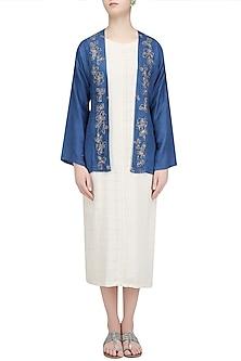 Blue Floral Embroidered Jacket by Ekadi
