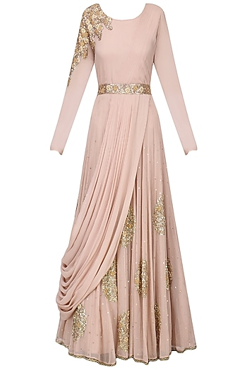 Blush Pink Embroidered Drape Gown with Embroidered Belt by Ekru by Ekta and Ruchira