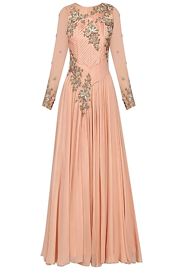 Peach Pleated Embroidered Gown. by Ekru by Ekta and Ruchira