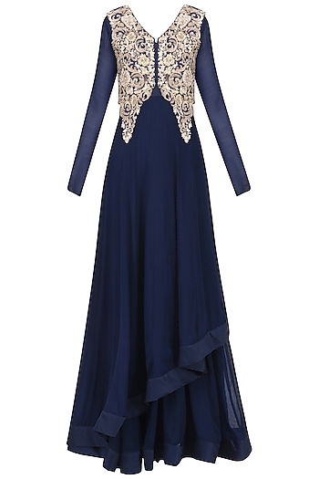 Navy Asymmetric Gown with Embroidered Jacket by Ekru by Ekta and Ruchira