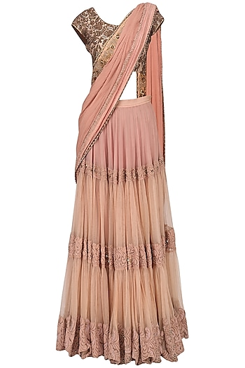 Peach Tiered Lehenga Saree with Embroidered Blouse by Ekru by Ekta and Ruchira