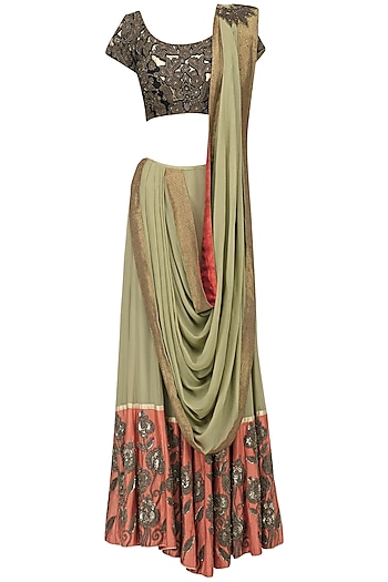 Green Lehenga Saree with Embroidered Blouse by Ekru by Ekta and Ruchira