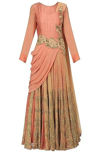 Orange Peach Embroidered Drape Gown by Ekru by Ekta and Ruchira