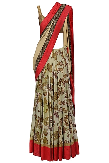 Floral Printed Lehenga Saree with Embroidered Jacket Blouse by Ekru by Ekta and Ruchira