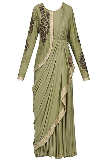 Olive Embroidered Drape Dress by Ekru by Ekta and Ruchira