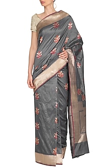 Grey Handwoven Banarasi Saree by Ekaya