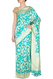 Aqua Green Handwoven Silk Saree by Ekaya