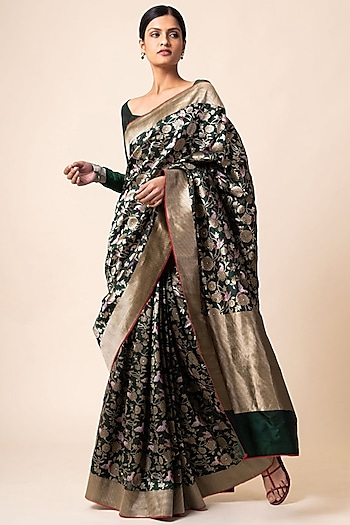 Emerald Green Saree Set With Cutwork by Ekaya