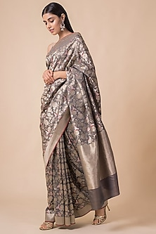 Grey Saree Set With Floral Pattern by Ekaya