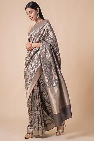 Grey Saree Set With Floral Pattern by Ekaya