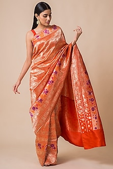 Orange Saree Set With Floral Motifs by Ekaya