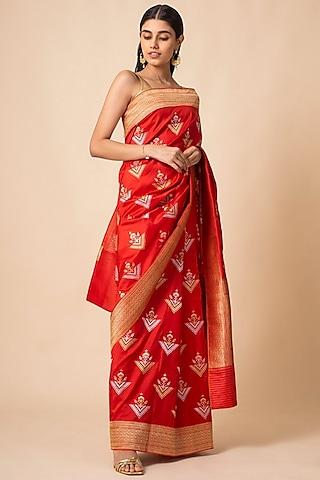 Red Handwoven Saree Set by Ekaya