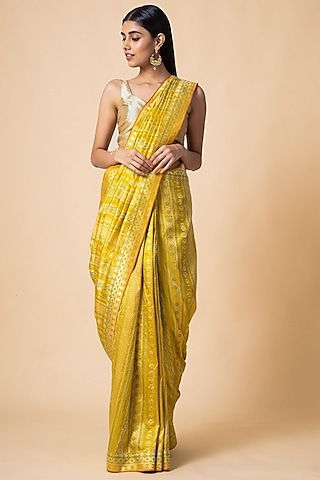Yellow Striped Saree Set by Ekaya