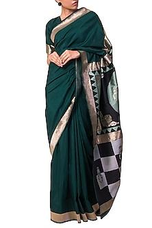 Emerald Green Handwoven Saree Set by Ekaya X Masaba
