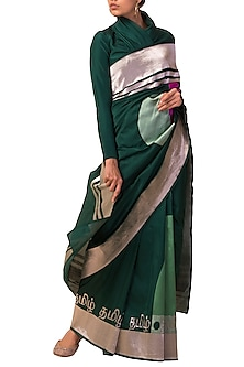 Emerald Green Calligraphy Motif Handwoven Saree Set by Ekaya X Masaba