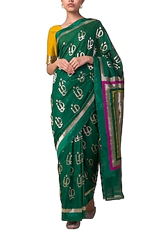 Emerald Green Tamil Motif Handwoven Saree Set by Ekaya X Masaba