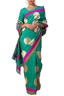 Mint Handwoven Silk Saree Set by Ekaya X Masaba