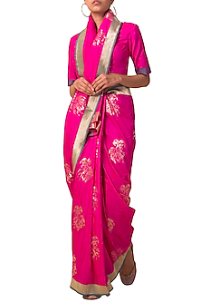 Rani Pink Handwoven Saree Set by Ekaya X Masaba