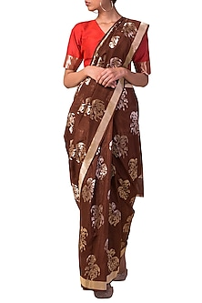 Brown Handwoven Saree Set by Ekaya X Masaba