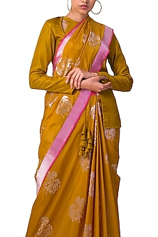 Yellow Handwoven Saree Set by Ekaya X Masaba