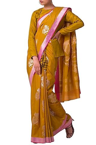 Yellow Handwoven Saree Set by Ekaya X Masaba