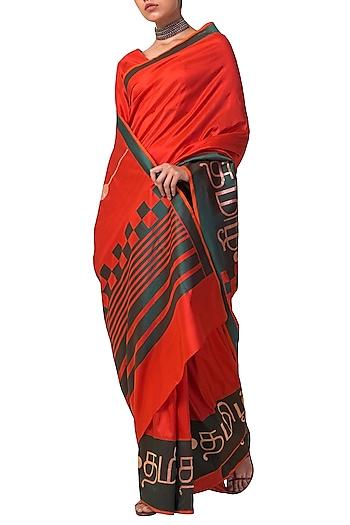 Red Handwoven Silk Saree Set by Ekaya X Masaba