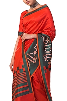 Red Handwoven Silk Saree Set by Ekaya X Masaba