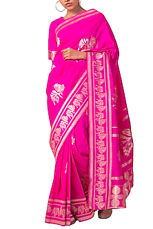 Rani Pink Handwoven Silk Saree Set by Ekaya X Masaba