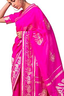 Rani Pink Handwoven Silk Saree Set by Ekaya X Masaba