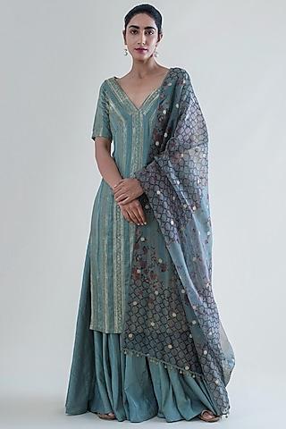 Mint Green Banarasi Kurta Set by Ekaya