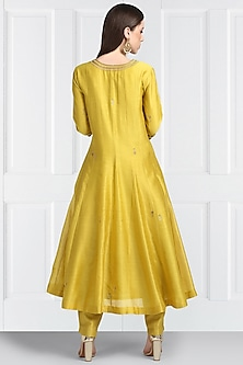 Yellow Embroidered Angrakha Kurta Set by Label Earthen