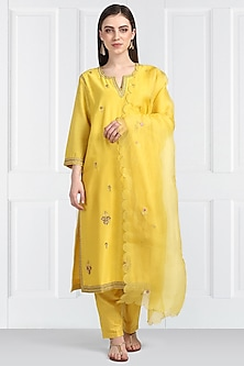 Yellow Embroidered Kurta Set by Label Earthen