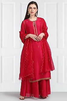 Fuchsia Embroidered Sharara Set by Label Earthen
