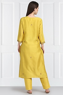 Yellow Embroidered Straight Kurta Set by Label Earthen